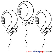Balloons Happy Birthday free Coloring Pages