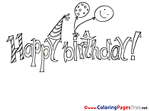 Balloons printable Coloring Pages Happy Birthday