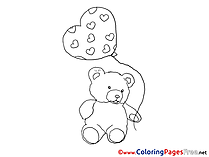 Bear Balloons Happy Birthday free Coloring Pages