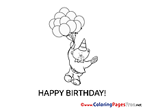 Bear Coloring Pages Happy Birthday for free