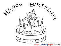 Bear Happy Birthday Coloring Pages free