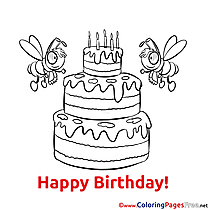 Bees Cake Children Happy Birthday Colouring Page