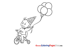 Bicycle Balloons Coloring Sheets Happy Birthday free