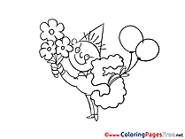 Bouquet Coloring Pages Happy Birthday for free