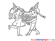 Bouquet Happy Birthday Colouring Sheet free