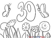 Butterflies 30 Years Colouring Sheet download Happy Birthday