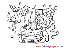 Cake Happy Birthday Coloring Pages download