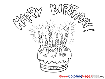 Candles Cake Happy Birthday Colouring Sheet free