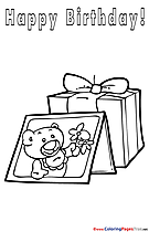 Card Bear Children Happy Birthday Colouring Page