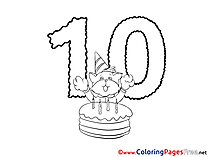 Cat 10 Years Happy Birthday Colouring Sheet free