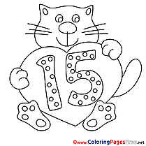 Cat 15 Years download Happy Birthday Coloring Pages