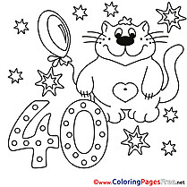 Cat 40 Years for Kids Happy Birthday Colouring Page