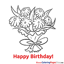Chamomiles Happy Birthday free Coloring Pages