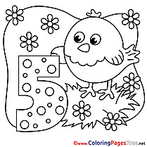Chicken 5 Years  printable Happy Birthday Coloring Sheets