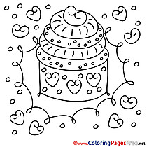 Children Cake Happy Birthday Colouring Page