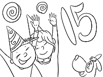 Fifteen Years Holiday Happy Birthday free Coloring Pages