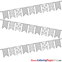 Flags Happy Birthday Coloring Pages download