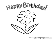 Flower Happy Birthday free Coloring Pages