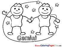 Gemini Coloring Sheets Happy Birthday free
