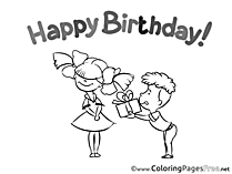 Gift Children Happy Birthday Colouring Page