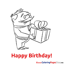 Gift printable Happy Birthday Coloring Sheets