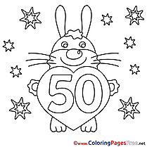 Hare 50 Years free Happy Birthday Coloring Sheets