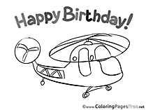 Helicopter Kids Happy Birthday Coloring Page