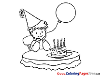 Holiday Boy Kids Happy Birthday Coloring Page
