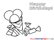 Ice Cream Colouring Sheet download Happy Birthday