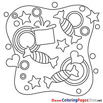 Kids Happy Birthday Candies Coloring Pages