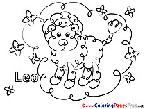 Leo free Colouring Page Happy Birthday