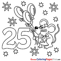 Mouse 25 Years Kids Happy Birthday Coloring Page