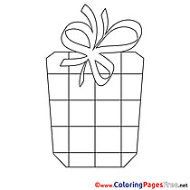Painting Present Happy Birthday Colouring Sheet free