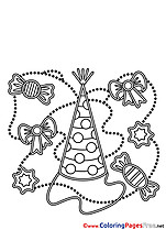 Party Hat download Happy Birthday Coloring Pages