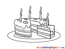 Piece Cake Kids Happy Birthday Coloring Pages