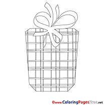 Present Children Happy Birthday Colouring Page