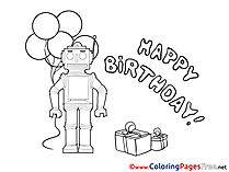 Robot Children Happy Birthday Colouring Page
