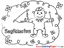 Sagittarius download Happy Birthday Coloring Pages