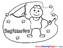 Sagittarius for Kids Happy Birthday Colouring Page