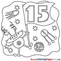 Space 15 Years Kids Happy Birthday Coloring Page