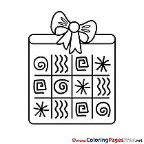 Symbols Gift Colouring Page Happy Birthday free