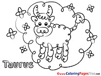 Taurus Happy Birthday free Coloring Pages