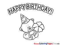 Teddy Bear free Colouring Page Happy Birthday