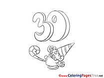Thirty Years Boy download Happy Birthday Coloring Pages