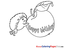 Apple Happy Bithday for Children free Coloring Pages