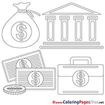 Bank free Colouring Page Business