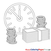 Clock Money Children Business Colouring Page