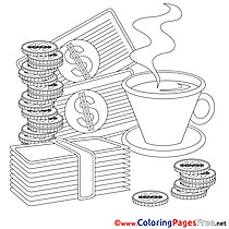 Coffee Money Business Colouring Sheet free