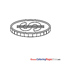 Coin Colouring Page Business free