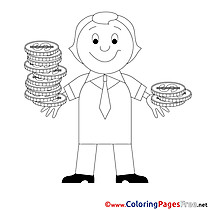 Coins for Kids Business Colouring Page
